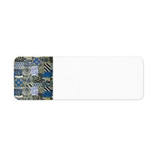 QWL_BluePatchworkQuilt SCRAPBOOKING TEXTILES BLUE Return Address Label