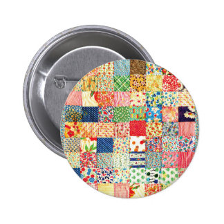 QWL Patchwork Quilt COLORFUL PATTERN BACKGROUND HO 2 Inch Round Button