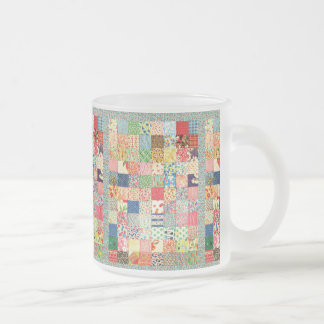 QWL Patchwork Quilt COLORFUL PATTERN BACKGROUND HO 10 Oz Frosted Glass Coffee Mug