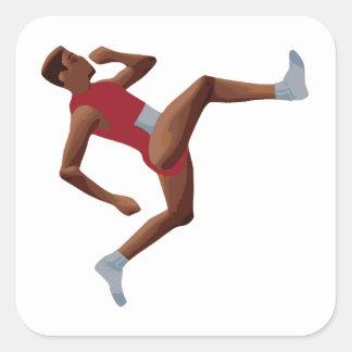 QWOP Goofy Track Runner Square Sticker