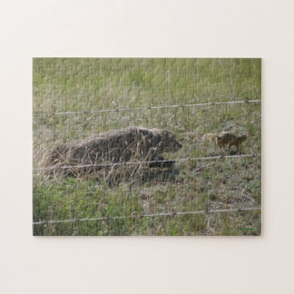 R0012 Bager Chasing Gopher Jigsaw Puzzle
