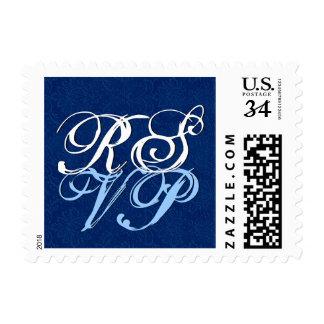 R136 de letra adornado azul y blanco de RSVP Sello