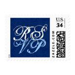R136 de letra adornado azul y blanco de RSVP Sellos