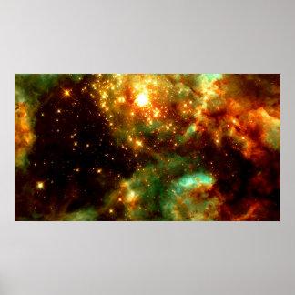 R136- Un racimo de estrellas masivas en la nebulos Póster