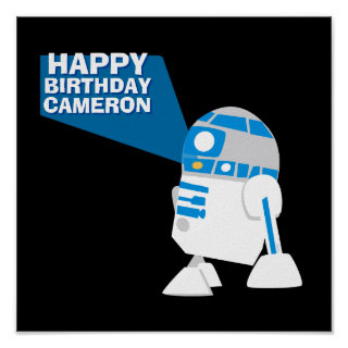 R2-D2 Happy Birthday Projection Poster