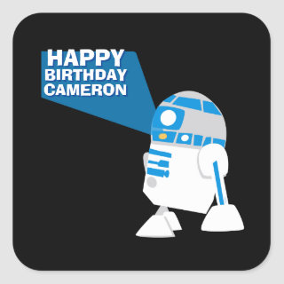 R2-D2 Happy Birthday Projection Square Sticker