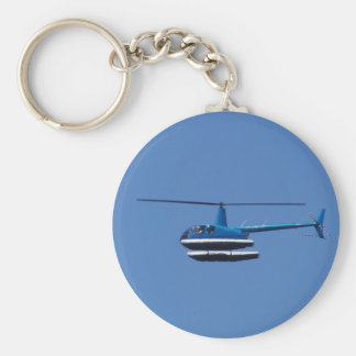 R44 helicopter with floats basic round button keychain
