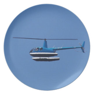 R44 helicopter with floats dinner plate