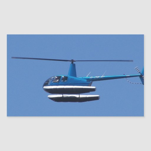 R44 helicopter with floats rectangular sticker