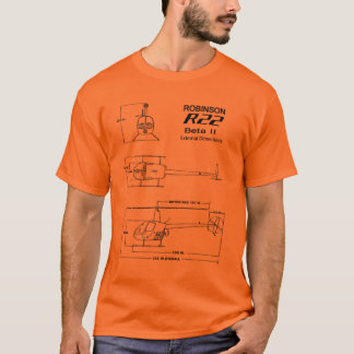 R-22 Robinson Helicopter Blueprint T-Shirt