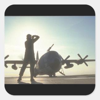 R.A.F. Aviones de C-130 Hércules Pegatina Cuadrada