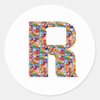 R alfa K J I de los REGALOS de la DIVERSIÓN 9 de Pegatina Redonda