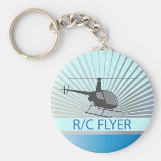 R-C Flyer Copter Basic Round Button Keychain