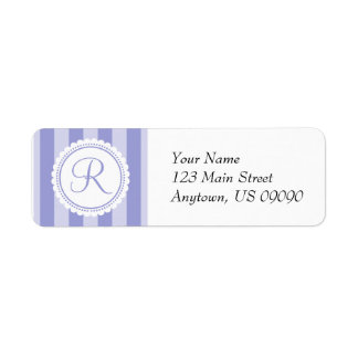 R Candy Striper Monogram Address Labels (Purple)