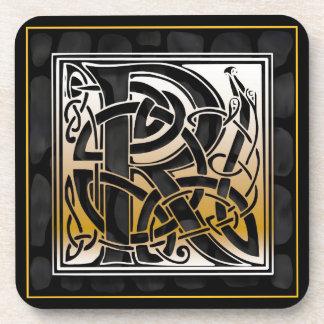 'R' Celtic Black Stone Monogram Coasters