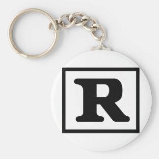 R clasificado llavero redondo tipo pin