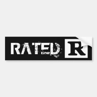 R clasificado, sistema de calificación pegatina para auto