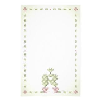 R del monograma de la cruz de la puntada de los ef papeleria de diseño