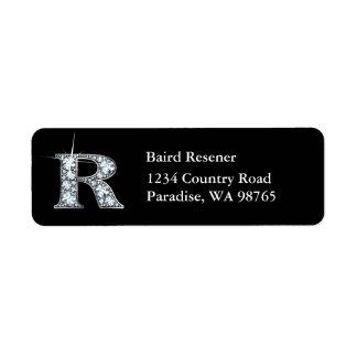 """""""R"""" Diamond Bling Monogram Return Address Label"""