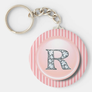 """R"" Diamond Bling with Vintage Pink Circle Frame K Keychain"