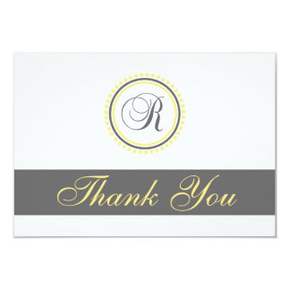 R Dot Circle Monogam Thank You Cards (Yellow/Gray)