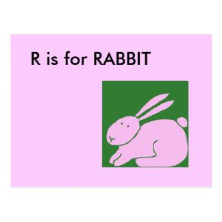 """""""R"""" está para el alfabeto Flashcard del conejo Tarjetas Postales"""