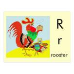 R está para el gallo tarjeta postal