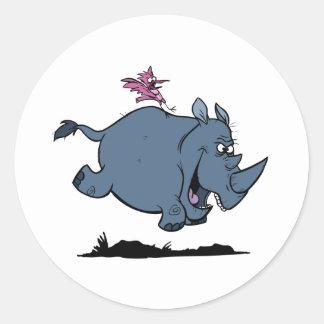 R está para el rinoceronte pegatina redonda