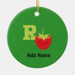 R está para la frambuesa adorno navideño redondo de cerámica