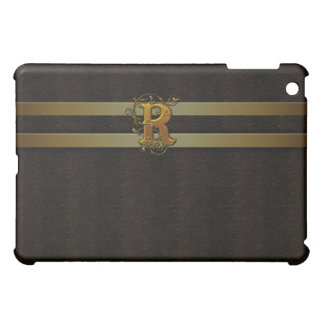 R Faux Brown Leather Satin Gold Monogram  iPad Mini Cover