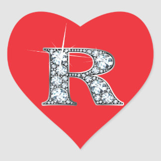 "R Faux-""Diamond Bling"" on Red Heart Sticker"