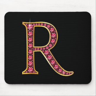 "R Faux-""Ruby"" Monogram Mouse Pad"