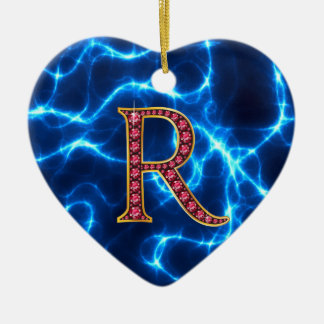 """R Faux-""""Ruby"""" Monogram  With Lightening Ceramic Ornament"""