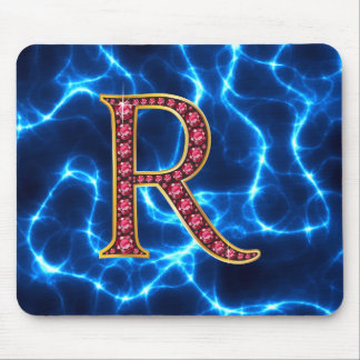 "R Faux-""Ruby"" Monogram  With Lightening Mouse Pad"