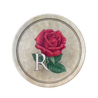 R for Rose Floral Alphabet Monogram Porcelain Plate