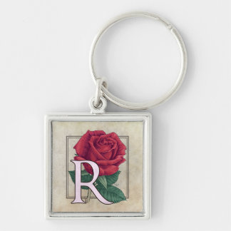 R for Rose Flower Monogram Silver-Colored Square Keychain