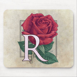 R for Rose Flower Monogram Mouse Pad