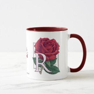 R for Rose Flower Monogram Mug