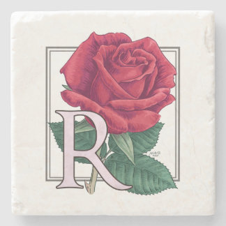 R for Rose Flower Monogram Stone Coaster