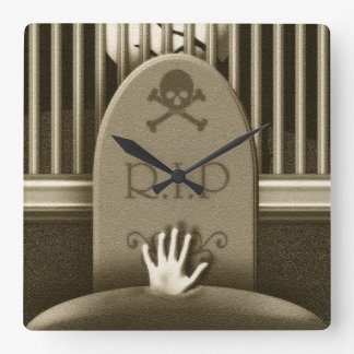 R.I.P. Graveyard Grave Halloween Haunted House Square Wall Clock