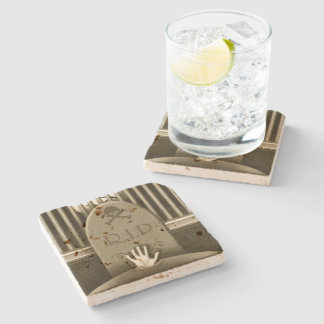R.I.P. Graveyard Hand  Halloween Haunted House Stone Beverage Coaster