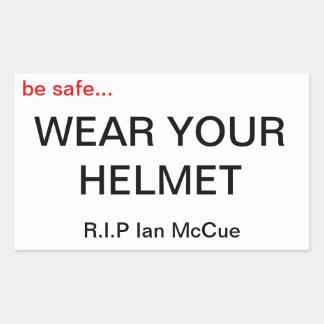 "R.I.P Ian McCue ""Wear Your Helmet"" memorial sticks Rectangular Sticker"