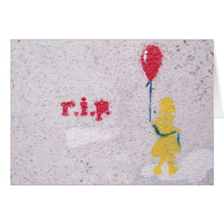 r.i.p. stencil : girl with the red balloon card