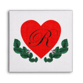 R in a heart envelopes