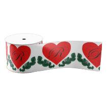 R in a heart grosgrain ribbon