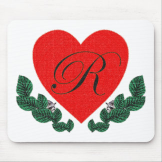 R in a heart mouse pad