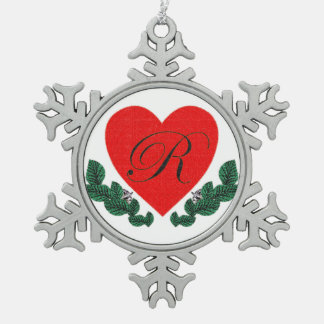 R in a heart snowflake pewter christmas ornament