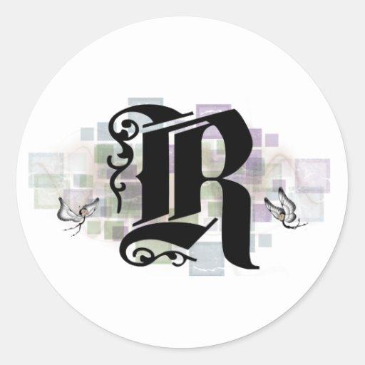 R inicial pegatinas redondas