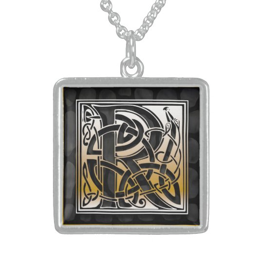 "R Initial Monogram ""Celtic Black Stone"" Necklaces"