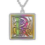 "R Initial Monogram ""Celtic Rainbow"" Necklace Pendants"
